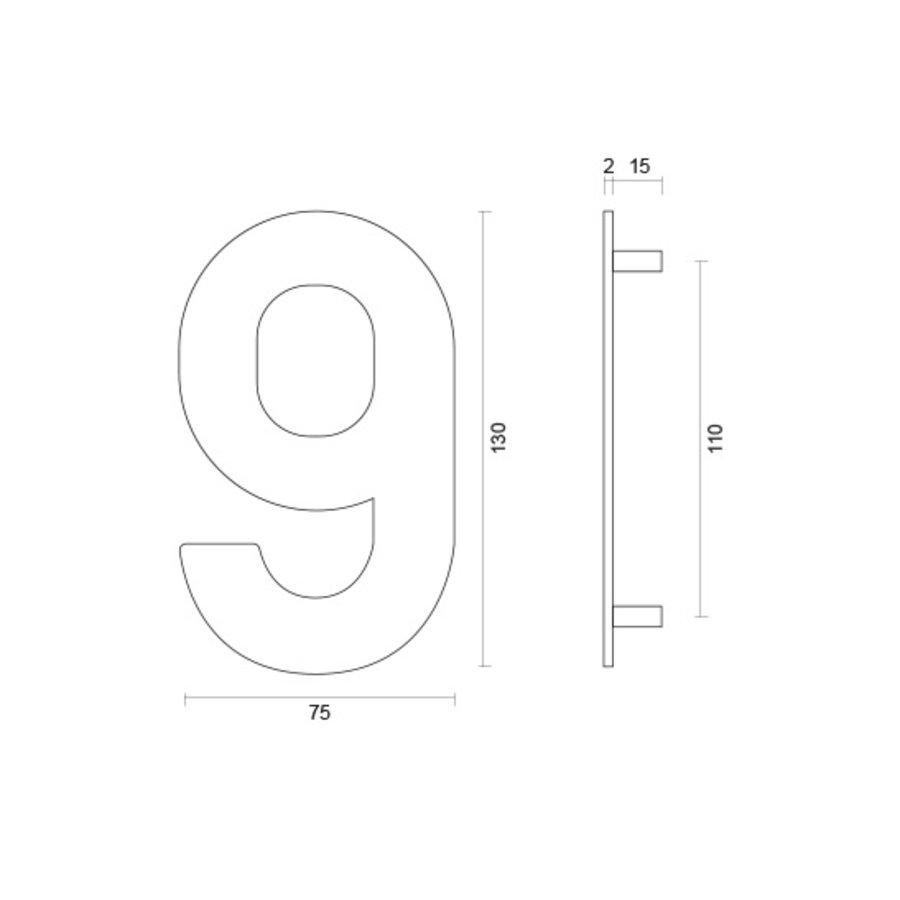 Huisnummer 9 rvs plat 130mm