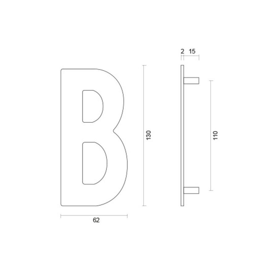 Huisletter B rvs plat 130mm