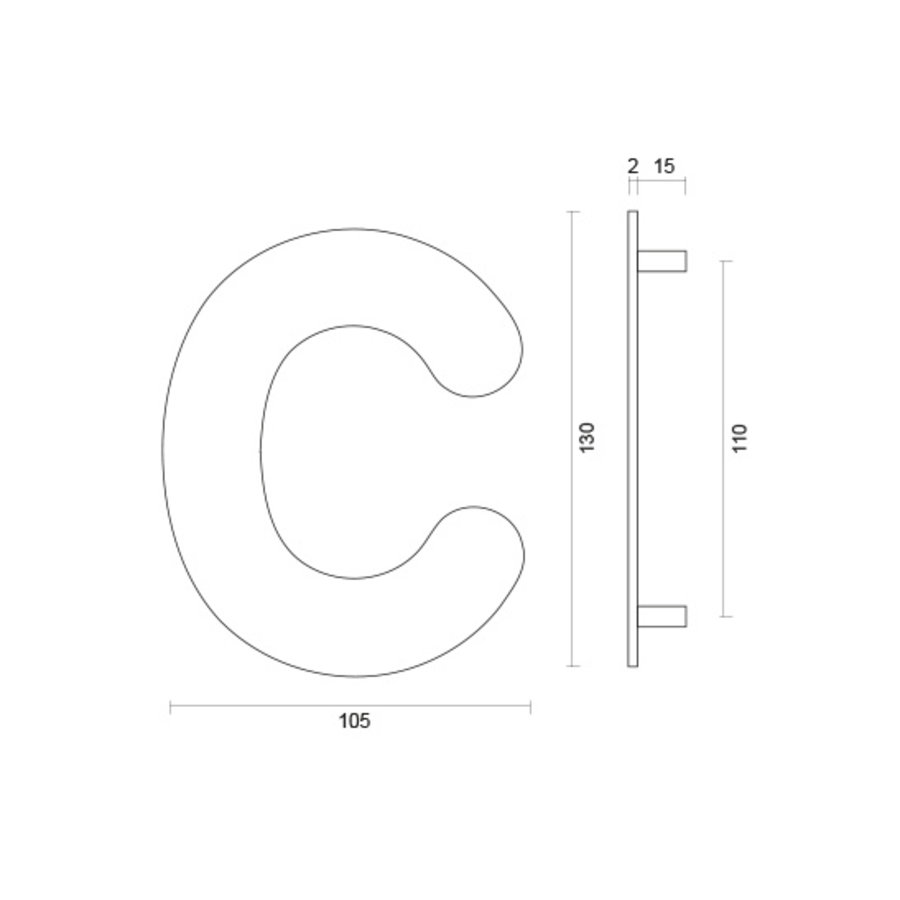 Huisletter C rvs plat 130mm