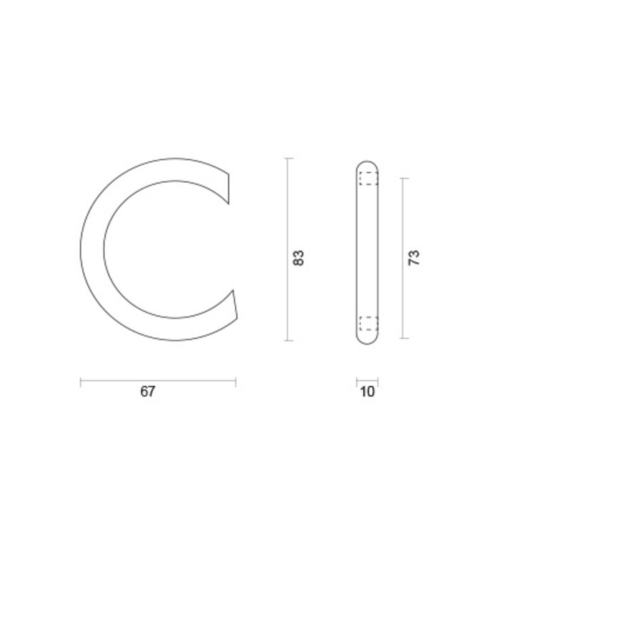 Huisletter C rvs rond 130mm