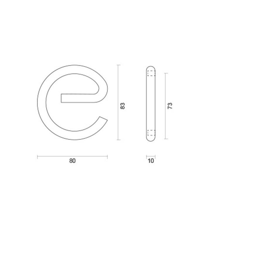 RVS huisletter E rond met een hoogte van 130mm