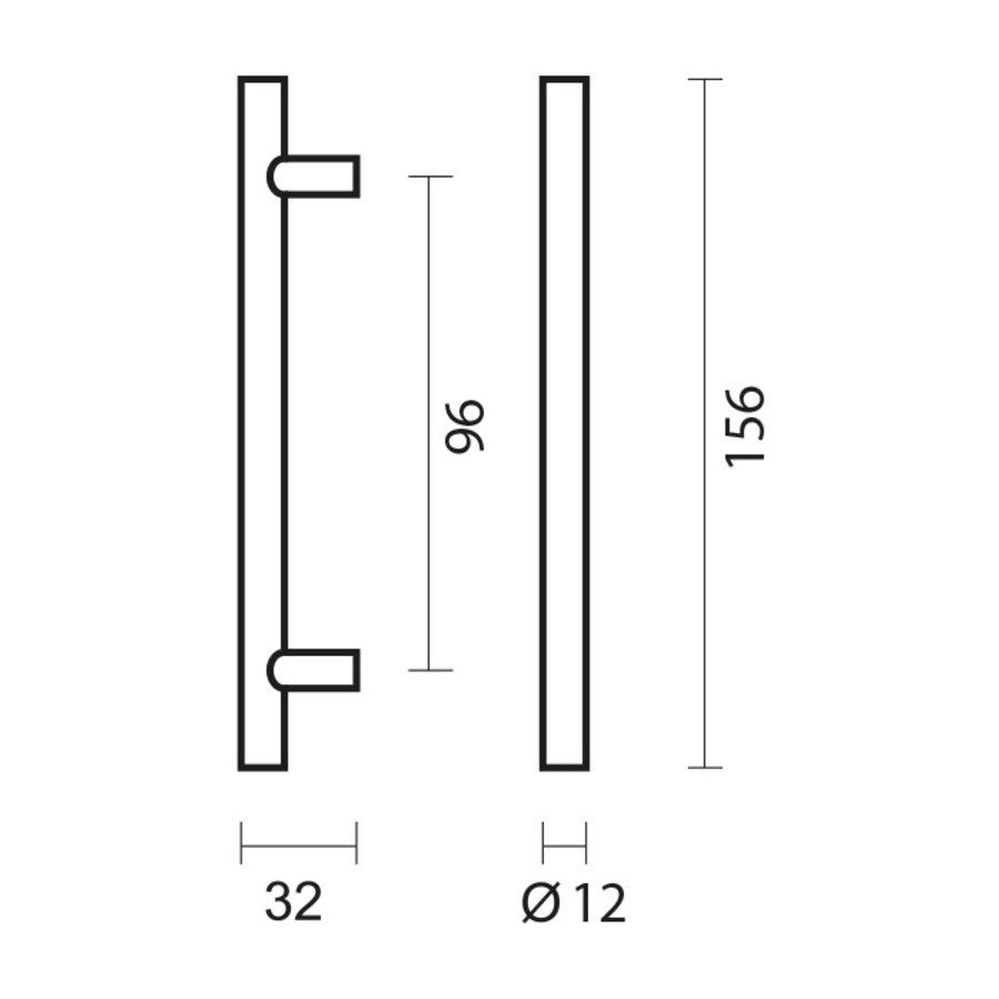 RVS meubelgreep T 12/96/156