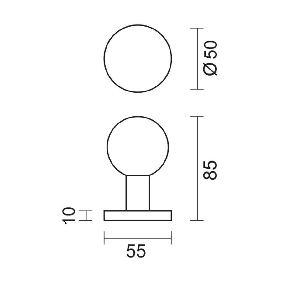 Vaste RVS deurknop B50 op rond rozet