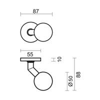 Vaste RVS deurknop BS 50 op rond rozet