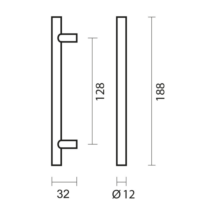 RVS meubelgrepen T 12/128/188