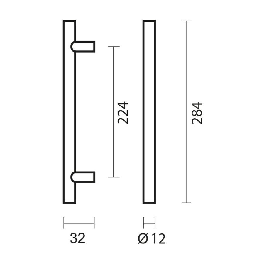 RVS meubelgrepen T 12/224/284