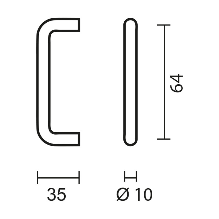 RVS meubelgrepen U 10/64