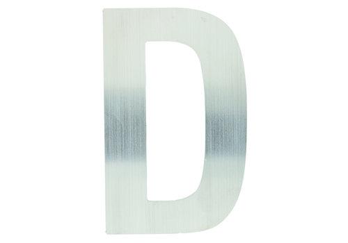RVS huisletter D plat 130mm