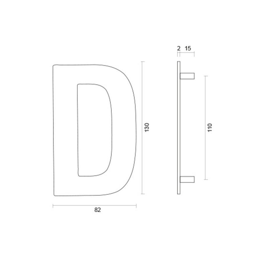 Huisletter D rvs plat 130mm