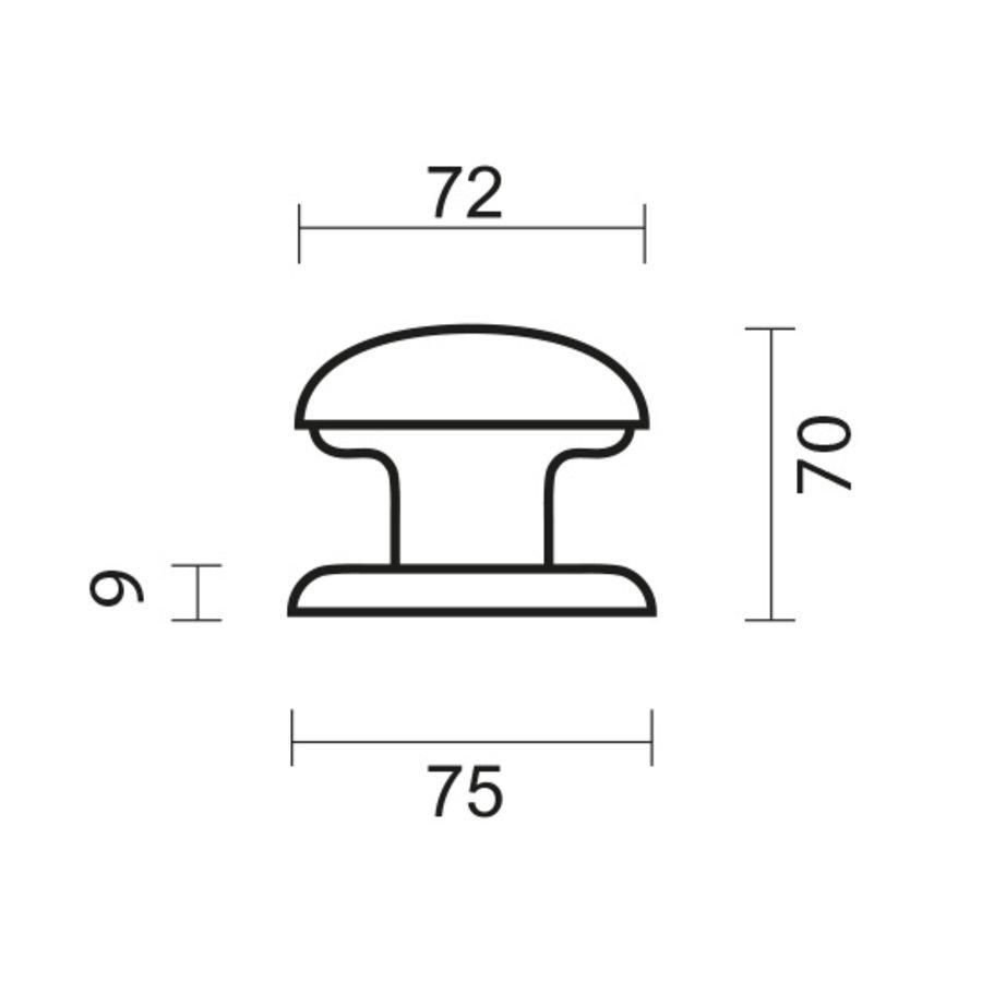 Vaste deurknop 'Top 805'  nikkel paar voor glas