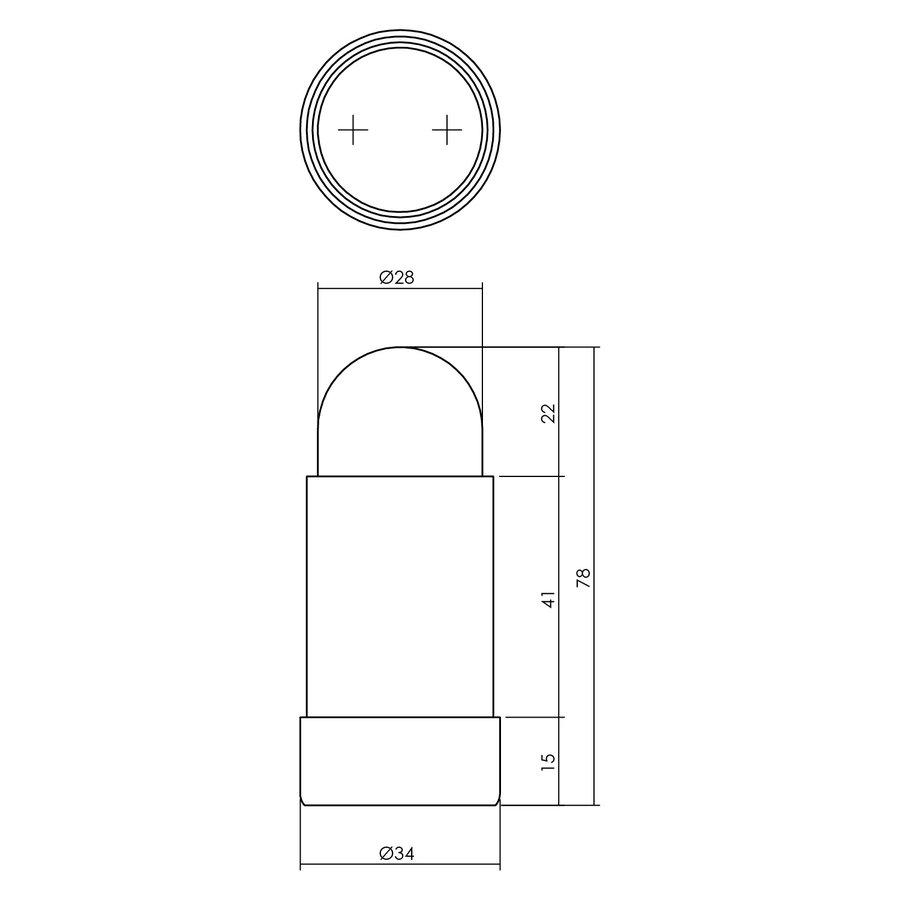 Intersteel Deurstop wandmontage afgerond Ø34x78mm RVS geborsteld