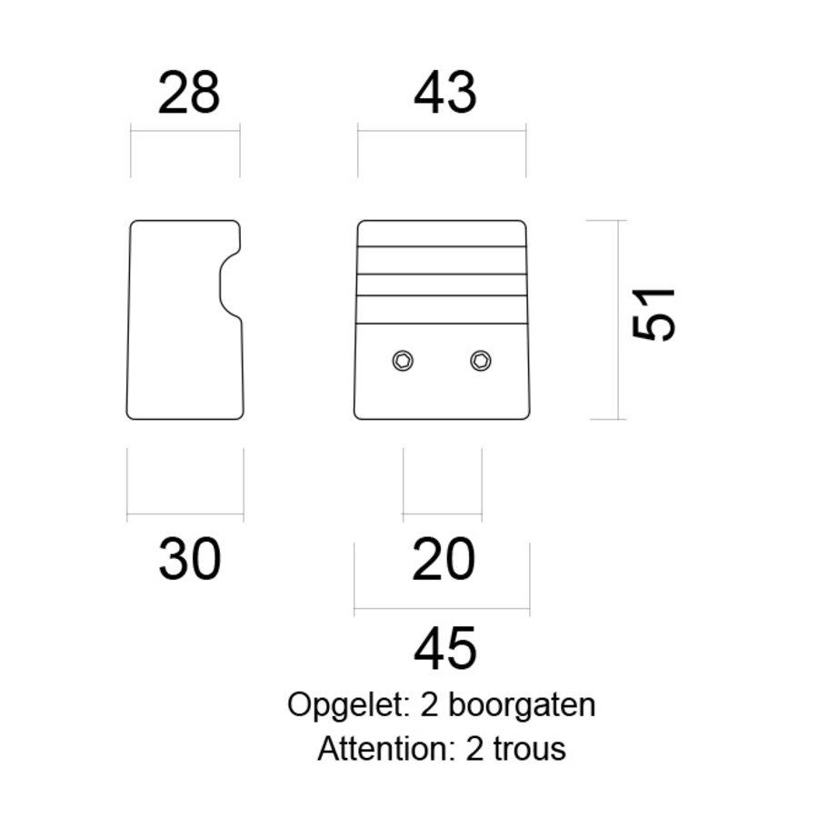 Vaste deurknop X-Treme  carbon  paar voor glazen deuren