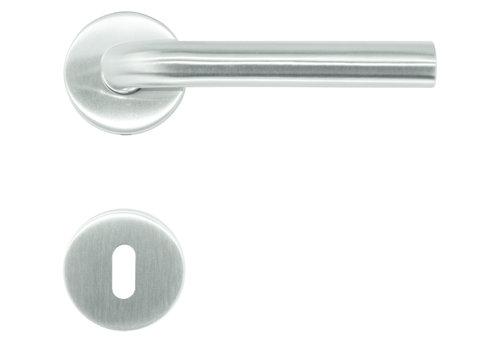 """RVS deurklinken L Shape """"class 3"""" met sleutelplaatjes"""