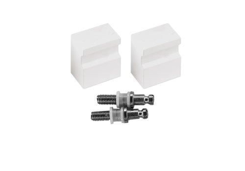 Fixed doorknob X-Treme white pair for glass
