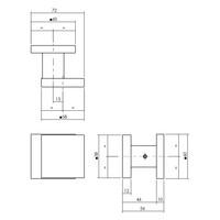 Intersteel Voordeurknop vierkant 60x60mm éénzijdige montage