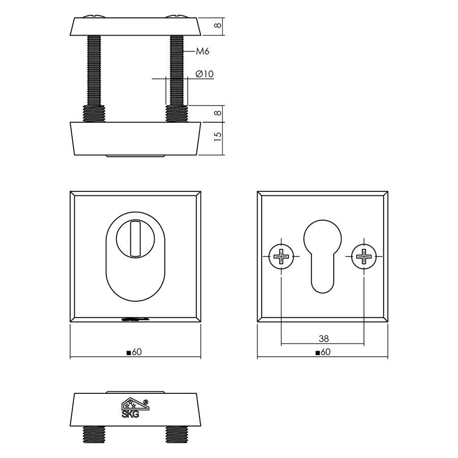 Intersteel Veiligheidsrozet skg3 vierkant met kerntrekbeveiliging aluminium zwart