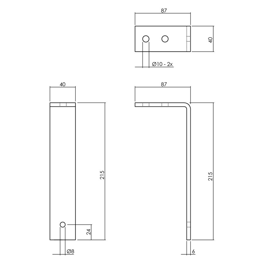 Intersteel Set van 5 plafondbeugels tbv schuifdeursysteem mat zwart