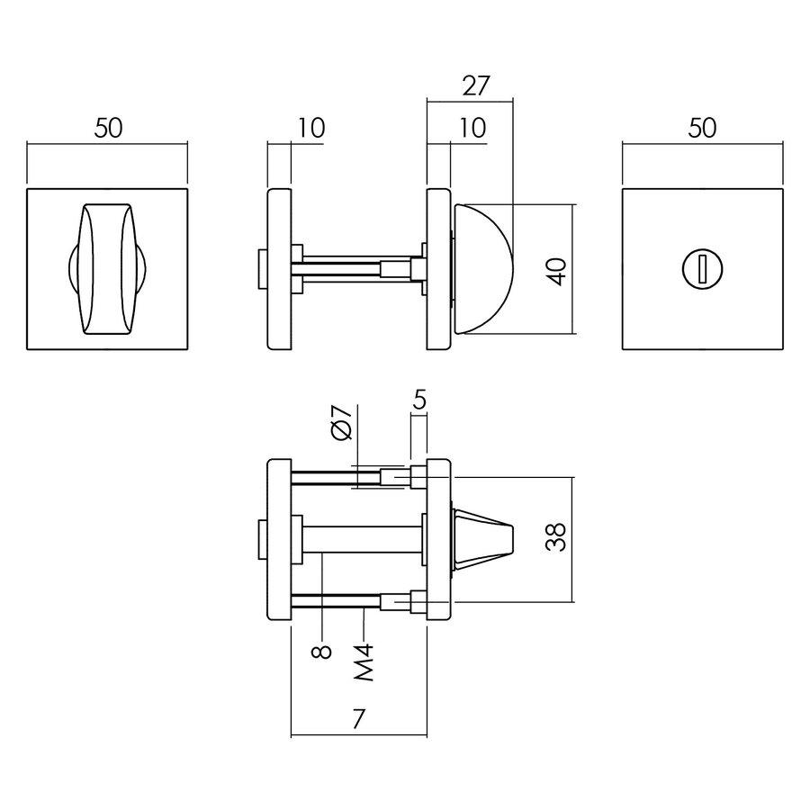 Intersteel Rozet toilet-/badkamersluiting 50x50x10 mm aluminium zwart