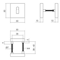 Intersteel Rozet sleutelgat 50x50x10 mm aluminium zwart