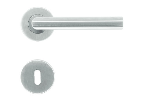 """Stainless steel door handles I Shape """"class 3"""" with key plates"""