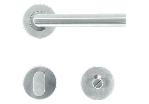 """Stainless steel door handles """"I Shape class 3"""" with WC"""