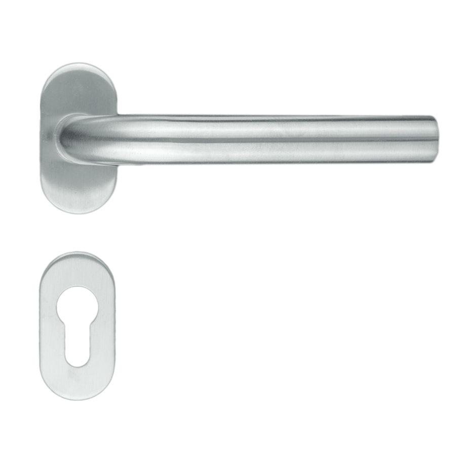 """RVS deurklinken profiel """"L Shape"""" met cilinderplaatjes"""