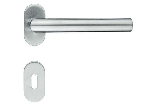 """Poignées de porte en acier inoxydable profil """"I Shape"""" avec plaques à clés"""