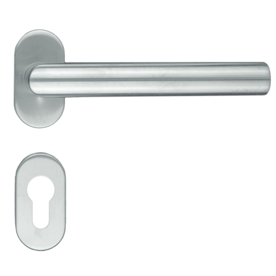 """RVS deurklinken profiel """"I Shape"""" met cilinderplaatjes"""