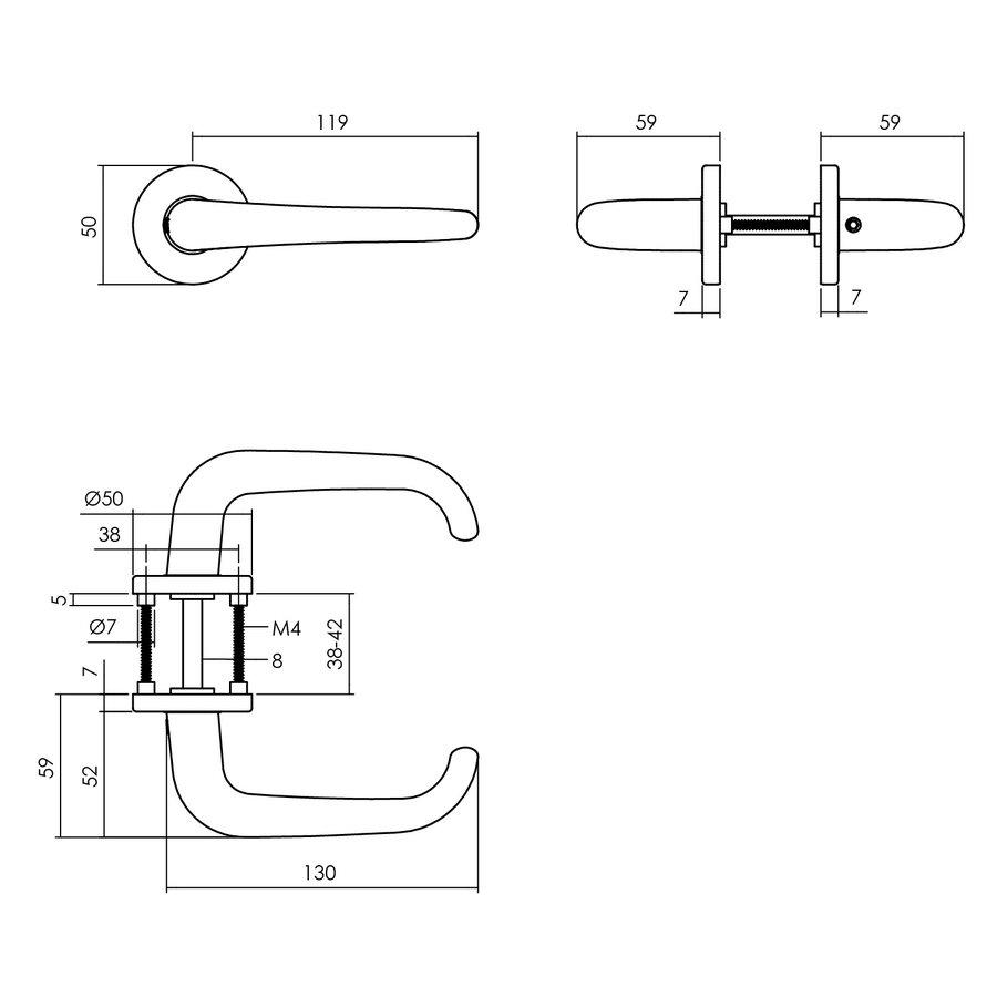 Intersteel Deurkruk Cue op rozet Ø50x7 mm aluminium zwart