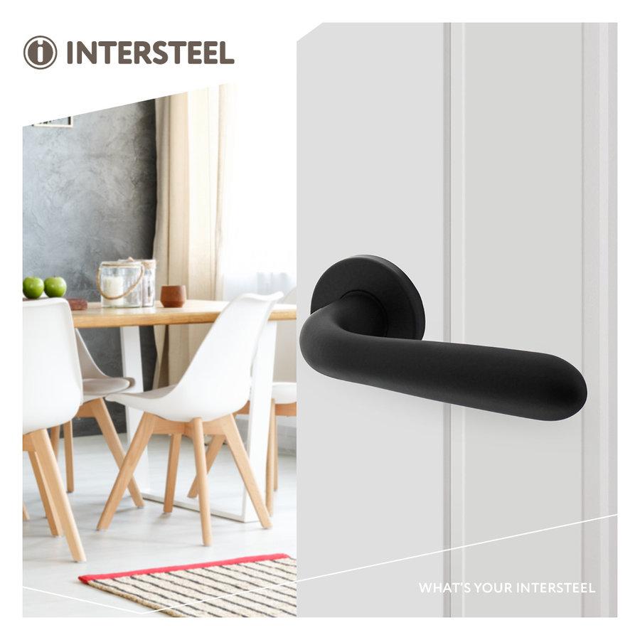 """Intersteel Deurkruk """"Merredin"""" op rozet Ø50x7 mm aluminium zwart"""
