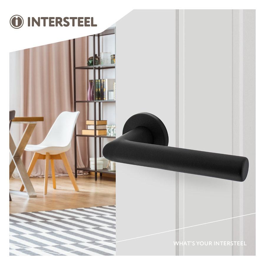 Intersteel Deurkruk Broome op rozet Ø50x7 mm aluminium zwart