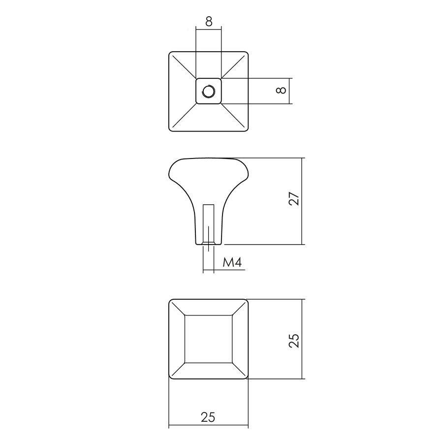 Intersteel Meubelknop vierkant 25 x 25 mm mat zwart