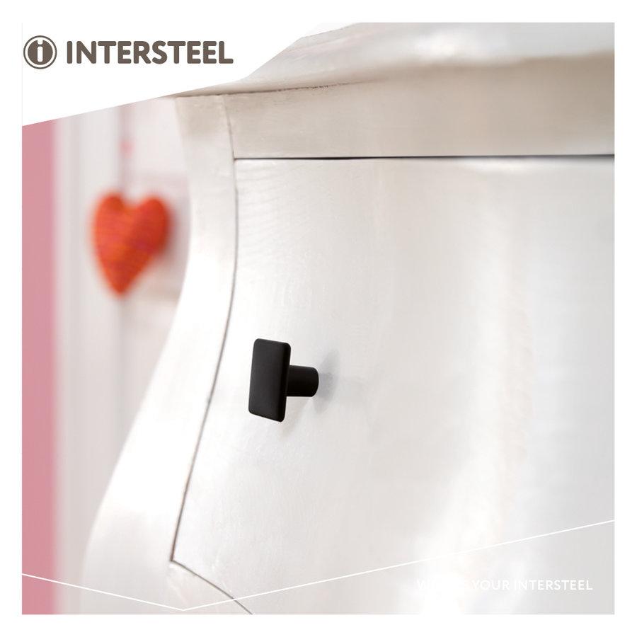 Intersteel Meubelknop vierkant 26 x 26 mm mat zwart