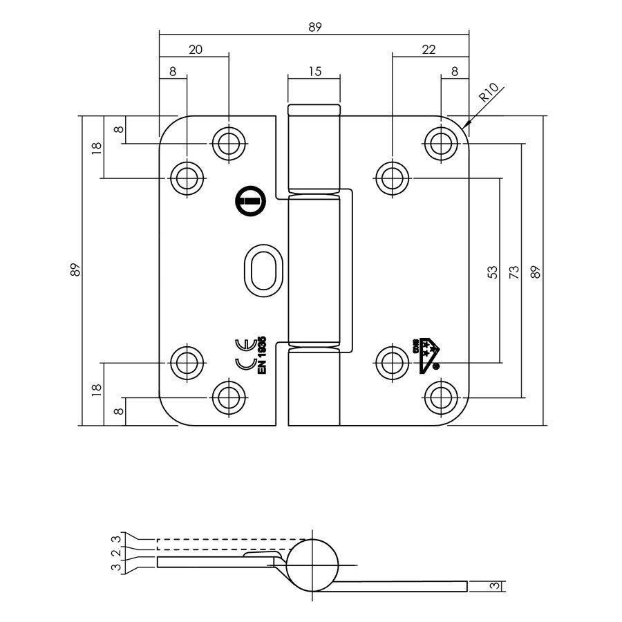 Intersteel Glijlagerscharnier 89x89x3mm DIN rechts/links RVS geborsteld