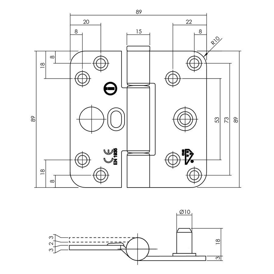 Intersteel Glijlagerscharnier SKG3 89 x 89 x 3 mm DIN rechts/links rvs geborsteld