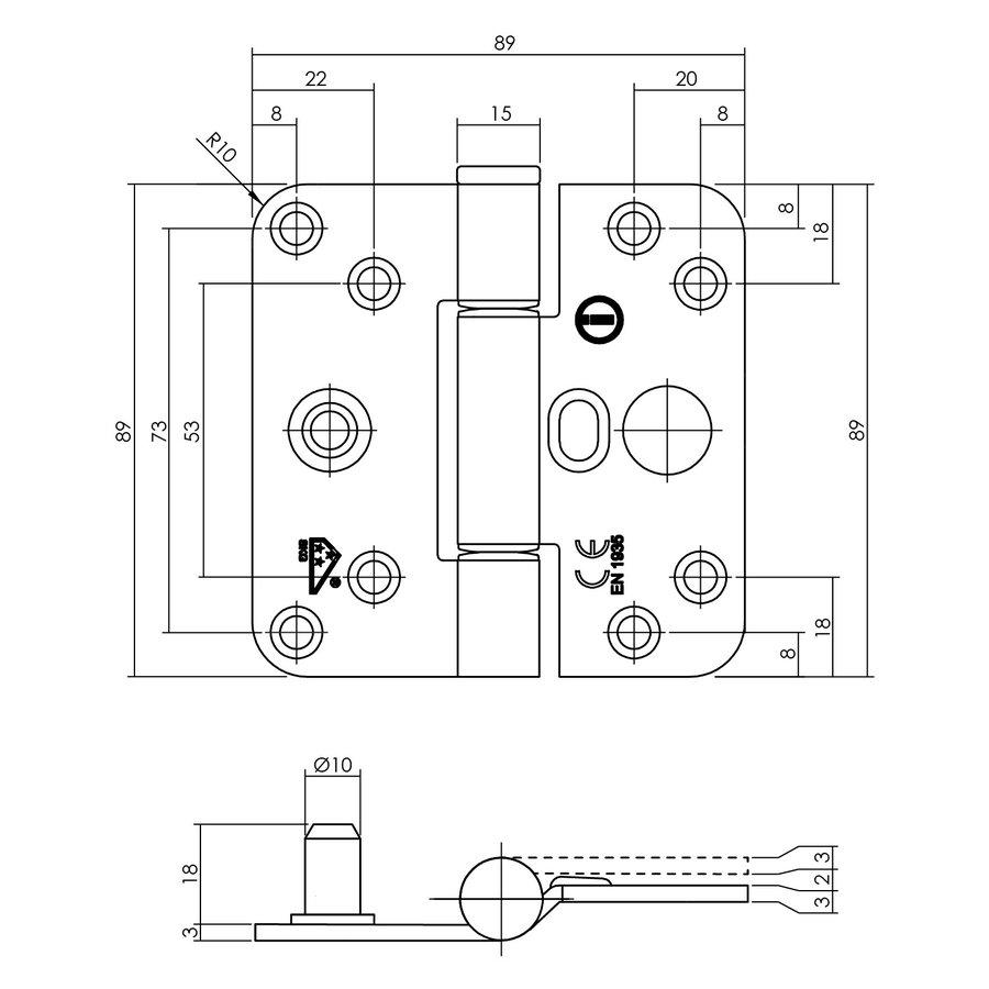 Intersteel Glijlagerscharnier SKG3 89x89x3mm zwart rechts (= DIN links)