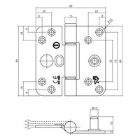 Intersteel Glijlagerscharnier SKG3 89x89x3mm zwart links (= DIN rechts)