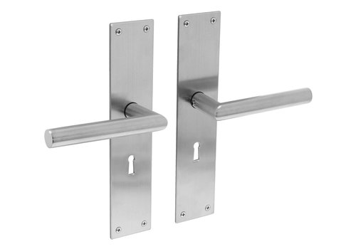 Stainless steel door handles Jura with shield BB 56mm