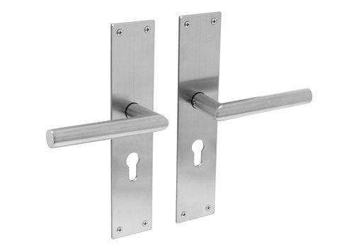 Stainless steel door handles Jura with shield PZ 55mm