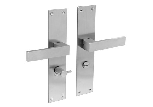 Stainless steel door handles Amsterdam with shield WC 63mm