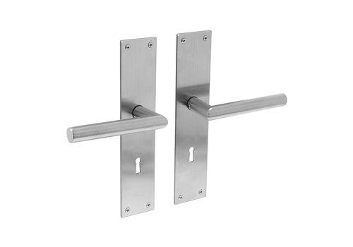 Stainless steel door handles Jura with shield - BB 72mm