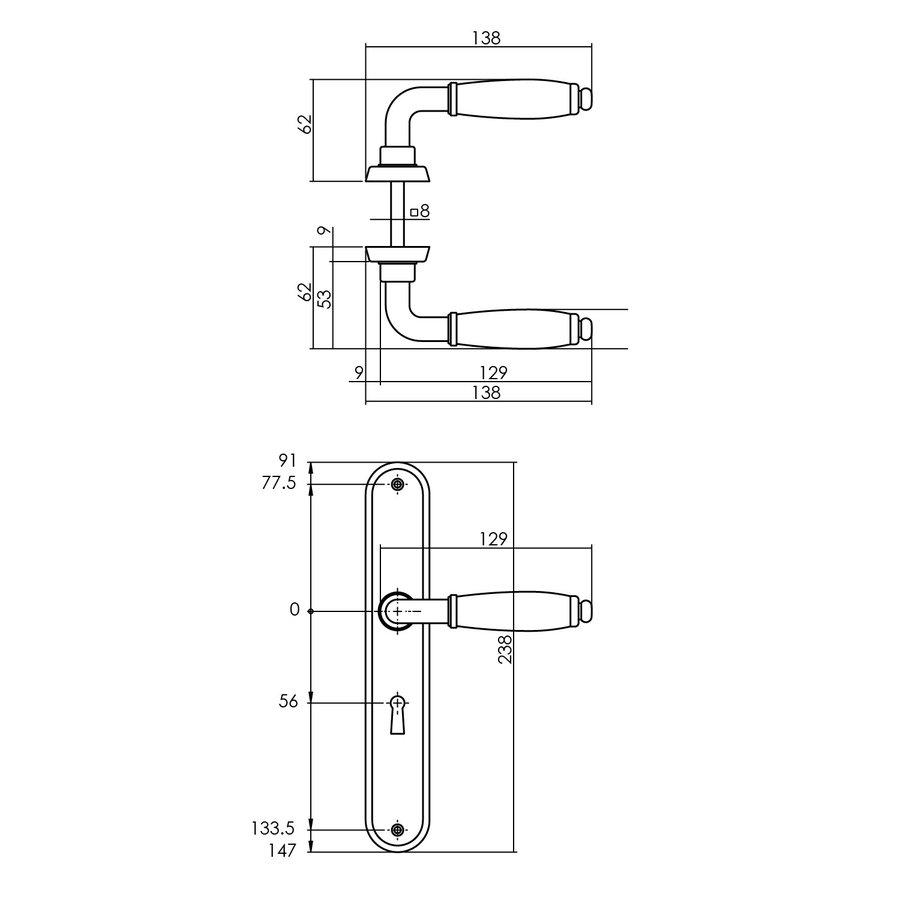 Intersteel Deurkruk Courgette met ovaal schild  sleutelgat 56mm mat chroom