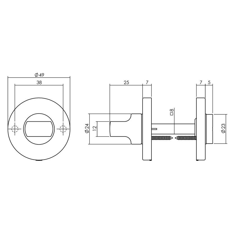 Intersteel Rozet Ø49x7mm toilet-/badkamersluiting nikkel mat