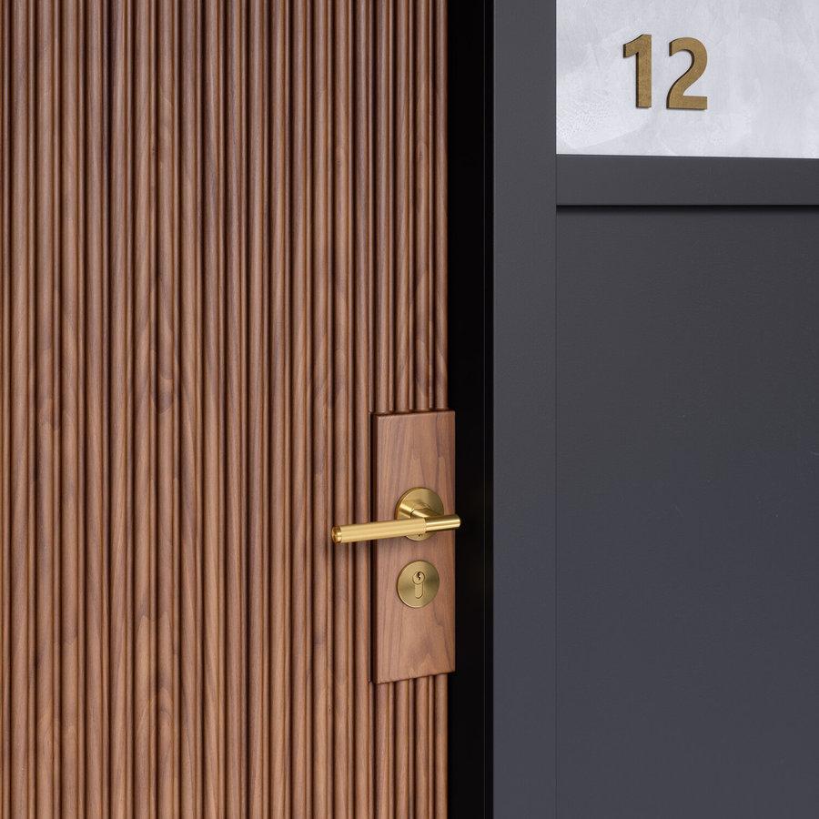 Messing deurklinken met 'Linear' geslepen handvat van Buster & Punch