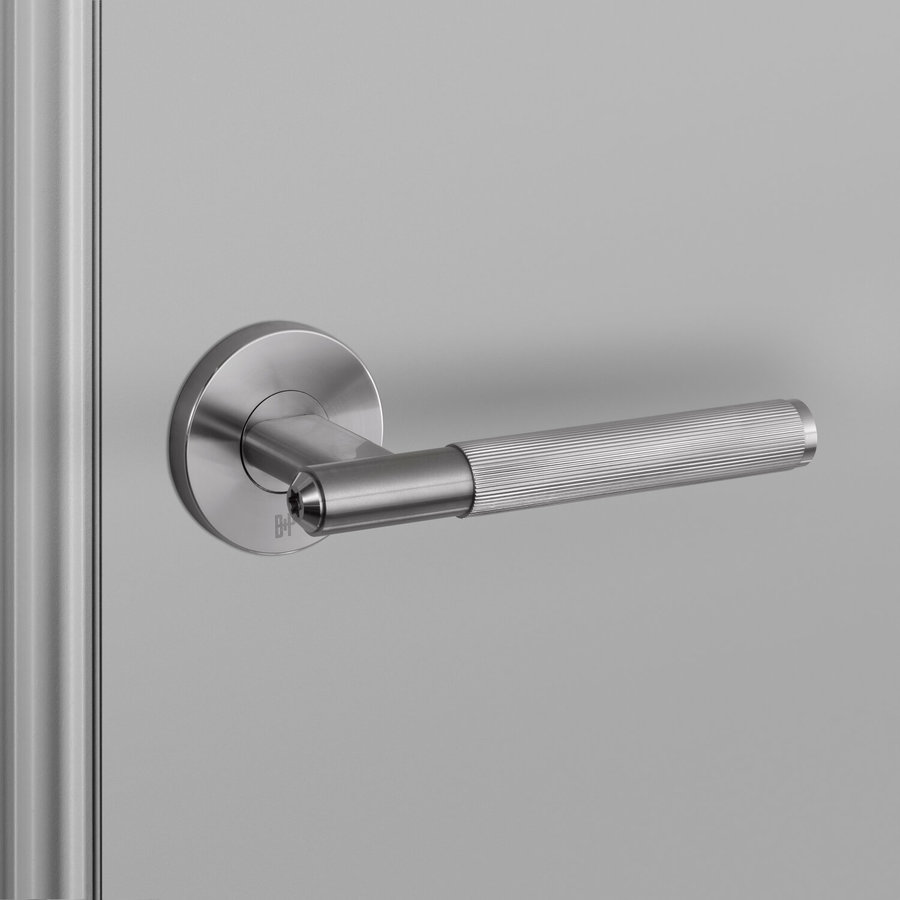 Stainless steel door handles with 'Linear' cut handle from Buster & Punch