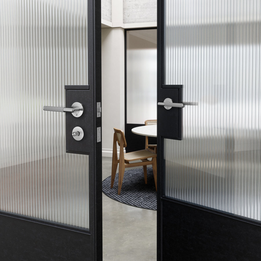 Stainless steel toilet set with Linear pattern from Buster & Punch