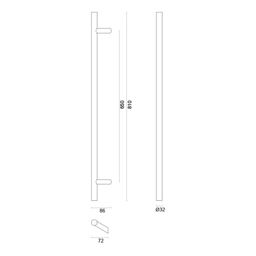 RVS voordeurgreep met schuine voet ST 32/650/810