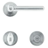 """Solid stainless steel look door handles """"Via"""" with toilet set"""