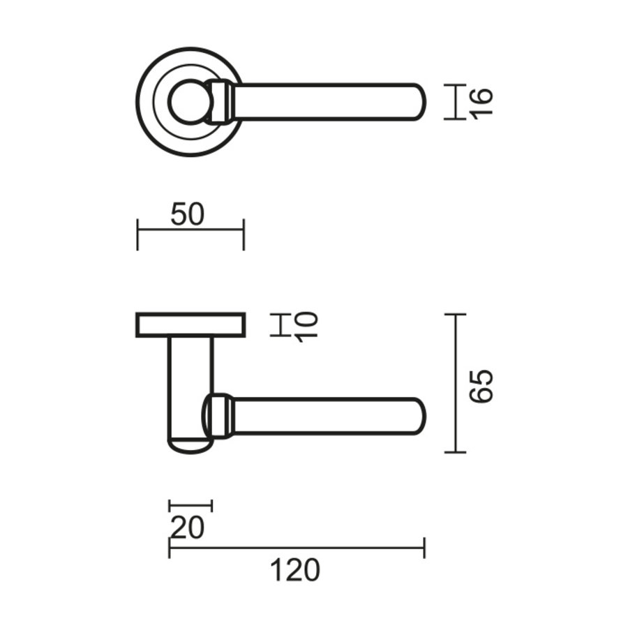 """Solid stainless steel look door handles """"Via"""" without key plates"""