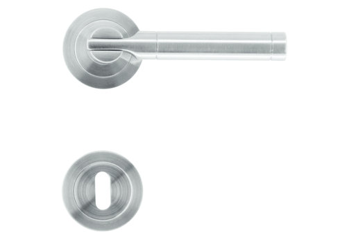 """Solid stainless steel look door handles """"Vito"""" with key plates"""